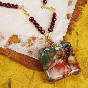 Lisa Confetti necklace with Edgar Degas painting